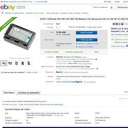 Dste 1250mAh VW VBY100 VBY100 Battery FOR Panasonic HC V110K HC V110G HC V201