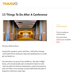 13 Things To Do After A Conference