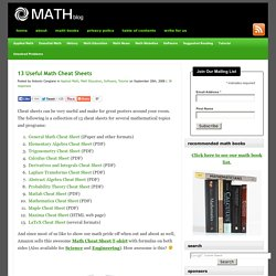 13 Useful Math Cheat Sheets