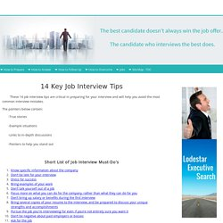 14 Key Job Interview Tips
