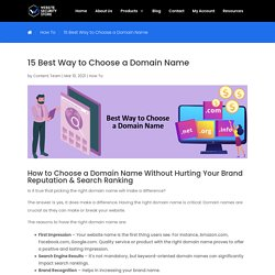15 Best Way to Choose a Domain Name