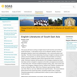 15PSEH013 English Literatures of South East Asia
