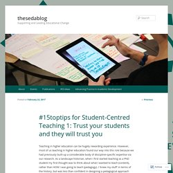 #15toptips for Student-Centred Teaching 1: Trust your students and they will trust you