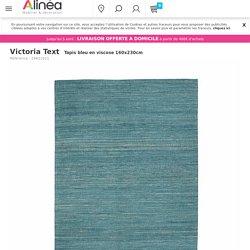 Tapis bleu en viscose 160x230cm - Victoria Text - Tapis-Textiles, Tapis-Salon, Salle à manger-Par pièce