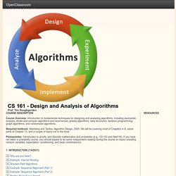 CS 161 - Design and Analysis of Algorithms
