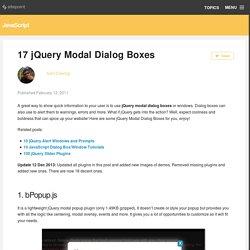 17 jQuery Modal Dialog Boxes