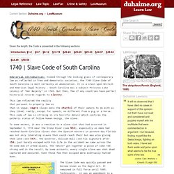 1740 | Slave Code of South Carolina