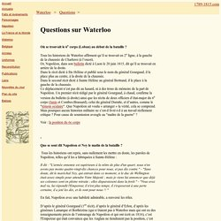 1789-1815 - Questions sur Waterloo