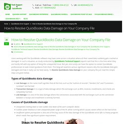 18002044122 How to Resolve QuickBooks Data Damage on Your Company File