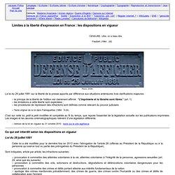 Loi de 1881 et autres textes sur la liberté d'expression