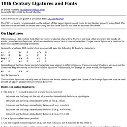 18th Century Ligatures and Fonts