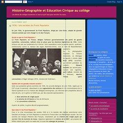 Histoire-Géographie et Education Civique au collège: 1936 : lois sociales du Front Populaire