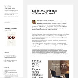 Loi de 1973: réponse d'Étienne Chouard