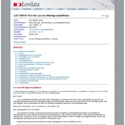 LOV 1999-07-16 nr 69: Lov om offentlige anskaffelser.