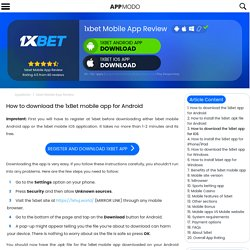 1xBet App Android / iOS - Download link and Install Guide (2020)