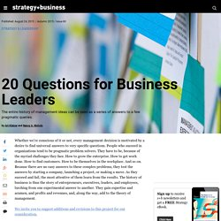 20 Questions for Business Leaders