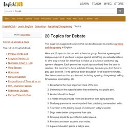 Topics for Debate in English