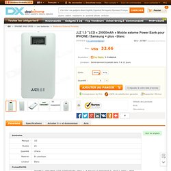 "JJZ 1.0 ""LCD « 20000mAh » Mobile externe Power Bank pour IPHONE / Samsung + plus - blanc - Envoie gratuit - DealExtreme!"