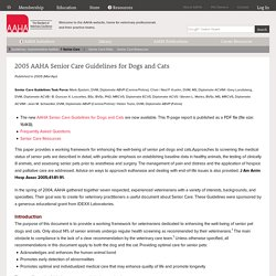 2005 AAHA Senior Care Guidelines for Dogs and Cats