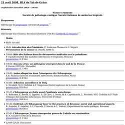 PATHEXO 21 avril 2008, HIA du Val-de-Grâce amphithéâtre Rouvillois (9h30 – 16h30) Séance commune - Société de pathologie exotiqu