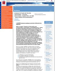 Analyses de Cycles de Vies des Technologies 2.0 @... Web -Impacts environnementaux ?