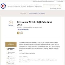 Harcèlement 2012-240 QPC du 4 mai 2012