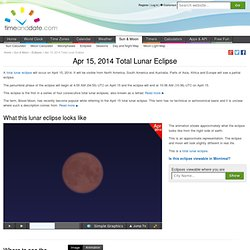 Apr 15, 2014 Total Lunar Eclipse