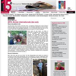 UNIVERSITE DE LIEGE - FEV 2015 - 2015, Année internationale des sols