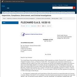 FDA 20/10/15 Lettre à FLECHARD S.A.S.