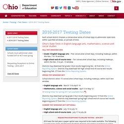 2016-2017 Testing Dates
