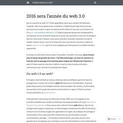 2016 sera l'année du web 3.0