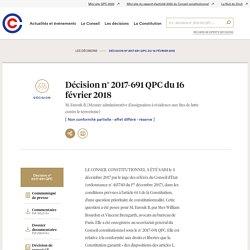 2017-691 QPC du 16 février 2018