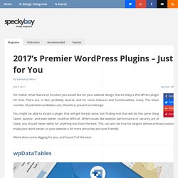 2017's Premier WordPress Plugins - Just for You