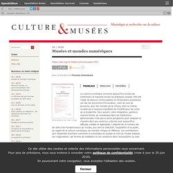 2020 Musées et mondes numériques