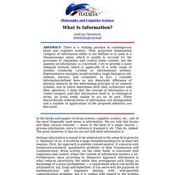 20th WCP: What Is Information?