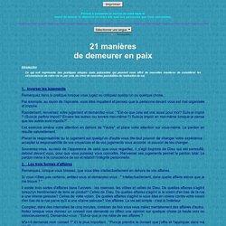 21 manières de demeurer en paix