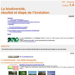 COURS révisions La biodiversité : une réalité changeante
