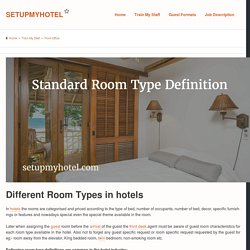 23 Room Types or Types of Room in Hotels