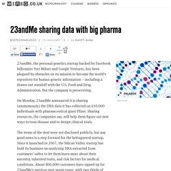 23andMe sharing data with big pharma