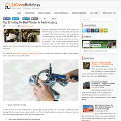 Tips to Finding the Best Plumber in Fredericksburg