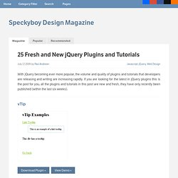 25 Fresh and New jQuery Plugins and Tutorials | Speckyboy Design Magazine