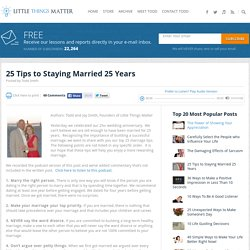 25 Tips to Staying Married 25 Years