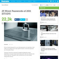 25 Worst Passwords of 2011