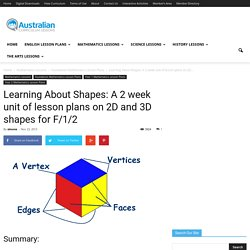 Learning About Shapes: A 2 week unit of lesson plans on 2D and 3D shapes for F/1/2Australian Curriculum Lessons