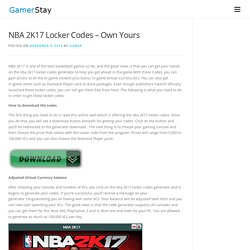 information nba 2k17 locker codes