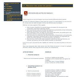 Révision des actes de parole A2-B1