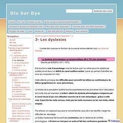 3- Les dyslexies - Dix Sur Dys
