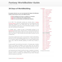 30 Days of WorldBuilding