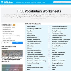 10,846 FREE Vocabulary Worksheets