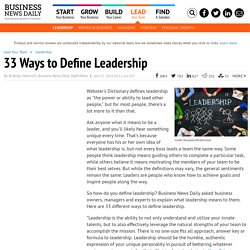 30 Ways to Define Leadership
